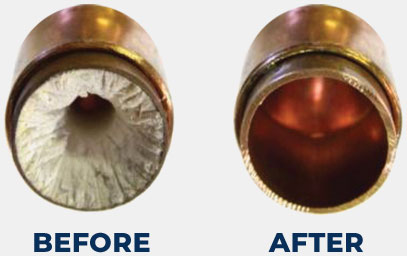 Before and after image of pipes with and without hard scale buildup